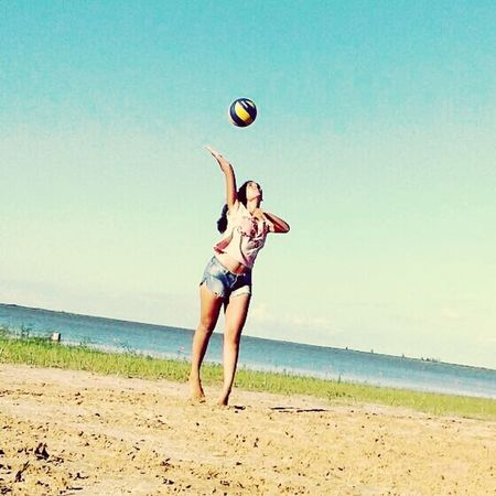 Voley is my life. Beach Playing Jumping Motion Vacations Exercising One Person Ball First Eyeem Photo