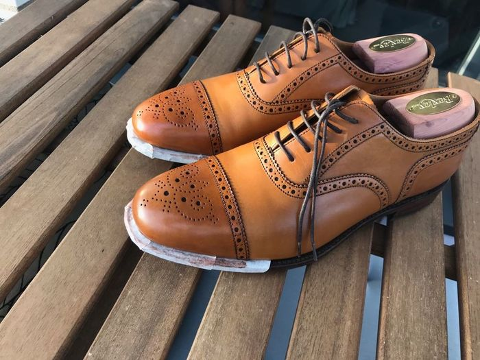Oxford Shoes Brogues Brown Cap Toe Goodyear Welted Leather Shoes Shoe Shoe Care