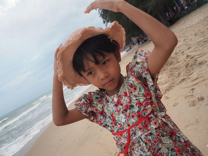 Happy girl on beach