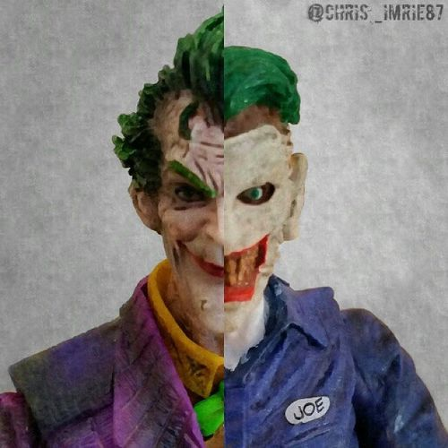 """A Tale Of Two Mistah J's"" -------------------------------- Just a lil edit for JokerSunday 🃏 using my Arkham City Joker by Play Arts Kai & New 52 Joker. Hope you folks like it... and guess what? Not a single drop of rain in sight!"