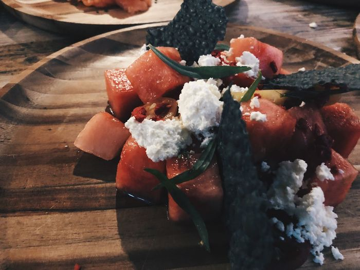 Watermelon salad Food Food And Drink Freshness Indoors  Table High Angle View No People Close-up Ready-to-eat Still Life Day Sweet Food Healthy Eating Temptation Wellbeing