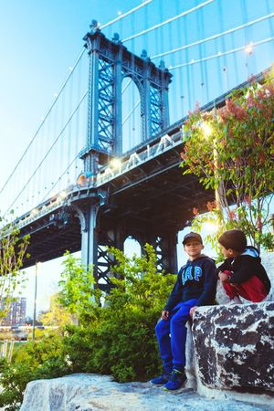 Two People Togetherness Brooklyn New York Bonding Vertical Built Structure Outdoors Standing Brotherhood Person Connection Happiness People Sky Day Architecture