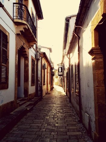 Traditional Street Architecture at Sunset