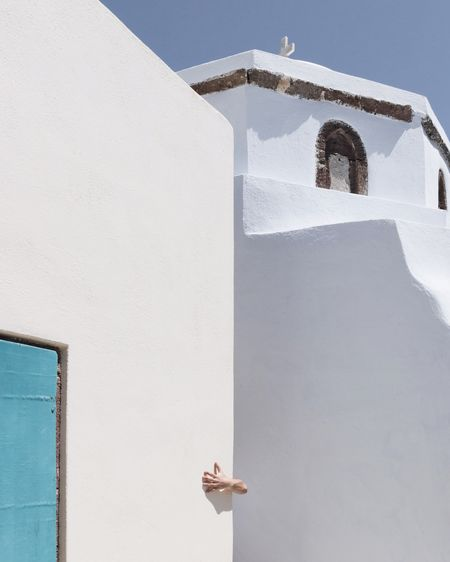 Architecture Built Structure Building Exterior Religion Day Whitewashed Low Angle View Outdoors Spirituality White Color Place Of Worship Sunlight Cross Shadow Clear Sky No People Bell Tower Sky EyeEmNewHere Santorini, Greece Santorini