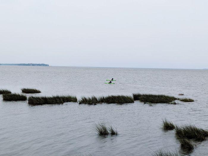 Kayaking Nature Ocean Duck,NC Water Sea Full Length Beach Sportsman Sky Horizon Over Water Water Sport