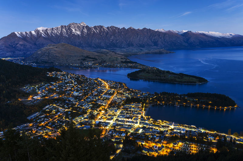 High angle view of lake in queenstown at dusk