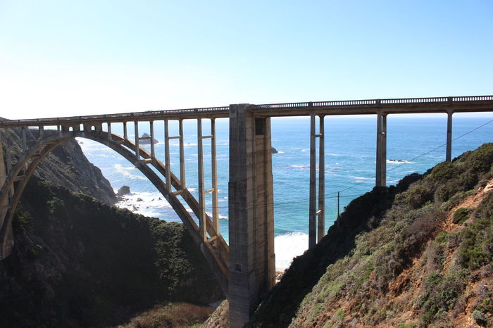 Architecture Beauty In Nature Big Sur, Ca. Bridge - Man Made Structure Clear Sky Landscape Nature No People Outdoors Scenics Sea Tranquility Travel Destinations