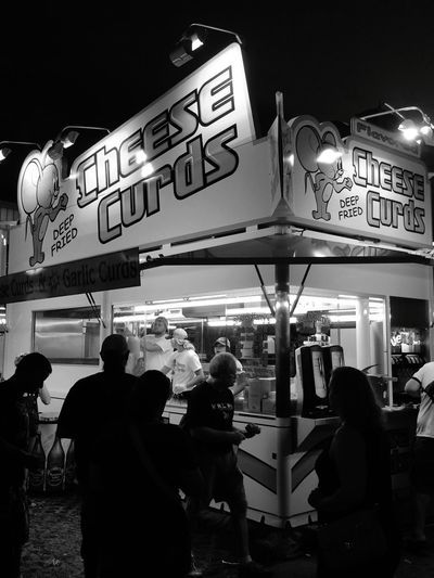 Night Illuminated Neon Des Moines, Iowa Iowa State Fair Food Cheese Curds