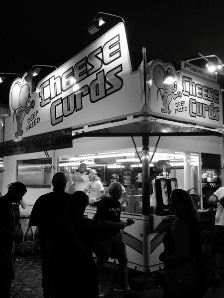 Night Illuminated Neon Des Moines, Iowa Iowa State Fair Food Cheese Curds