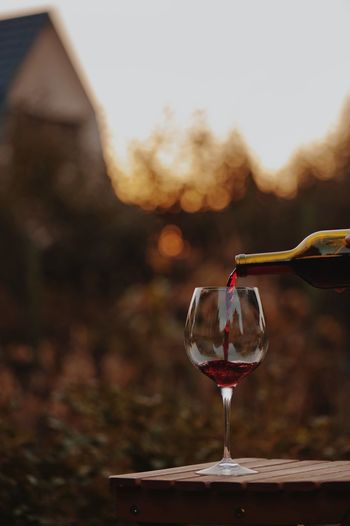 testing a glass of red wine at sunset Wineglass Refreshment Wine Drink Alcohol Glass Food And Drink Red Wine Focus On Foreground No People Nature Glass - Material Day Close-up Outdoors Household Equipment Freshness Motion Drinking Glass