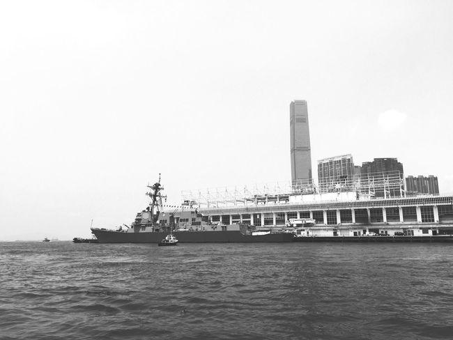 Blackandwhite Ships Navy Oceanterminal HongKong battleship (?)