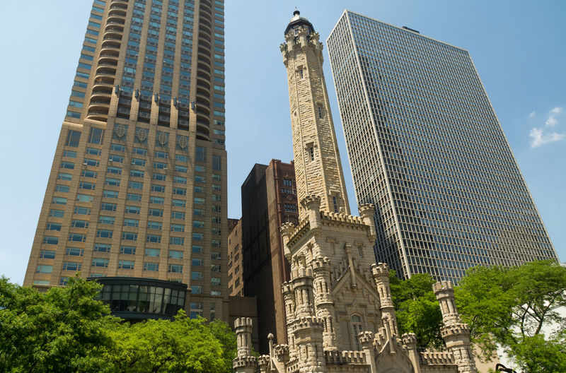 Chicago water tower and skyscrapers against sky