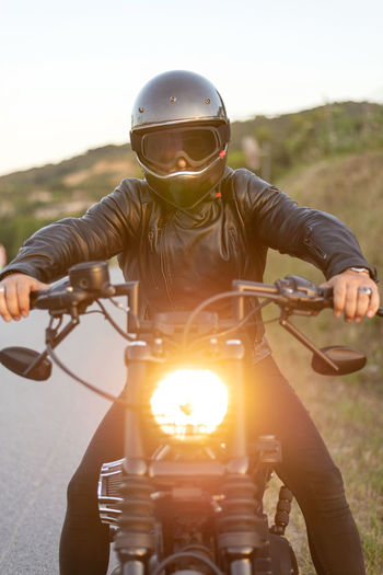 Portrait of man riding motorcycle