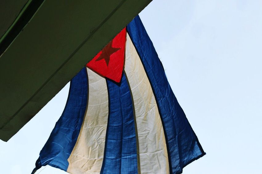 Patriotism Flag Low Angle View Red No People Day Clear Sky Outdoors Sky Close-up Cuba Cuban Flag Santa Clara, Cuba Che Guevara Flags In The Wind  FidelCastro Travel Destinations Traveling Looking Up Cuba Collection Hello World EyeEm Best Shots EyeEm Gallery Finding New Frontiers