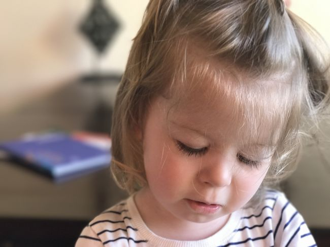 Babyhood Blond Hair Child Childhood Close-up Cute Females Focus On Foreground Girls Hair Hairstyle Headshot Indoors  Innocence Lifestyles One Person Portrait Real People Women