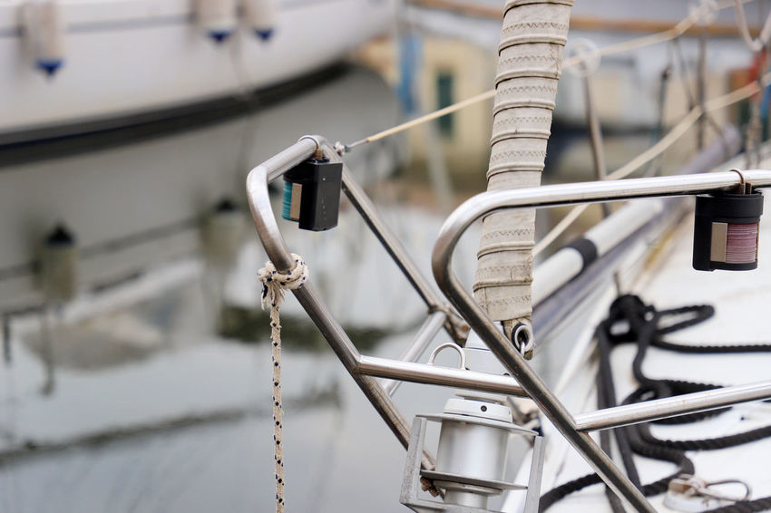 Cervia Harbor Harbour Nautical Equipment Post Railing Reflection Sailing Ship Day Detail Holding Italy Nautical Nautical Theme Nautical Vessel No People Node Outdoors Roop Sailboat Sailing Ship Water Woodenpost