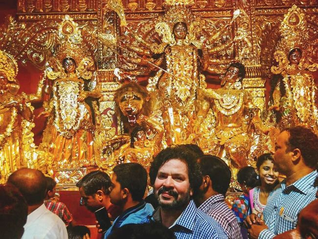 Gold Colored Group Of People Men Illuminated Gold Religion Spirituality Large Group Of People Night People Redminote4photography Redmi EyeEmNewHere Smiling Happiness Cheerful Colorful Godess Durga Godess EyeEmNewHere