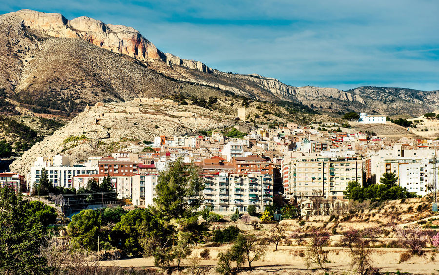 Jijona/Xixona town. Alicante province. Spain Alicante, Spain Architecture Cliff Costa Blanca Countryside Europe General View Houses Jijona Landscape Nature Outdoors Picturesque Range Residential Building Rocky Mountains Rural Scene Scenery SPAIN Sunny Day Town TOWNSCAPE Typical Village Xixona