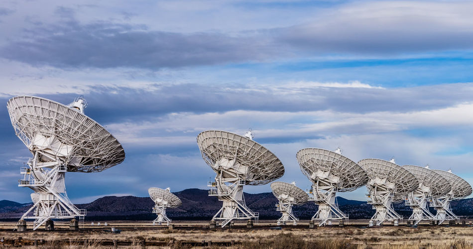 VLA New Mexicao Sky Cloud - Sky Satellite Dish Satellite Architecture Nature No People Built Structure Day Technology Global Communications Low Angle View Outdoors Astronomy Telecommunications Equipment Communication Education Metal Astronomy Telescope Space Radio Wave Very Large Array Very Large Array, New Mexico