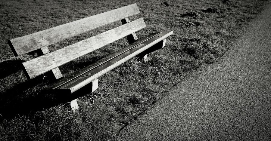 Resting Resting Place Clear Sky Clearup Washing Away the Working Day Sitting Outside Bench Wood Grass Pathway Perspectives And Dimensions Blackandwhite Blackandwhite Photography Black & White B&w Photography Light And Shadow Shadowplay