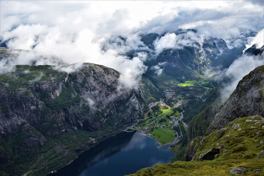 Hiking Kjerag Lysefjord Norway OverviewPoint Tranquility Cloud - Sky Fjord Hiking Trail Hikingadventures Lysebotn Overview View From Above Water