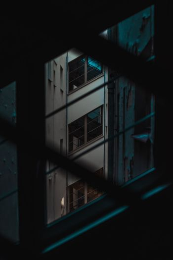 Close-Up Of Window In City At Night