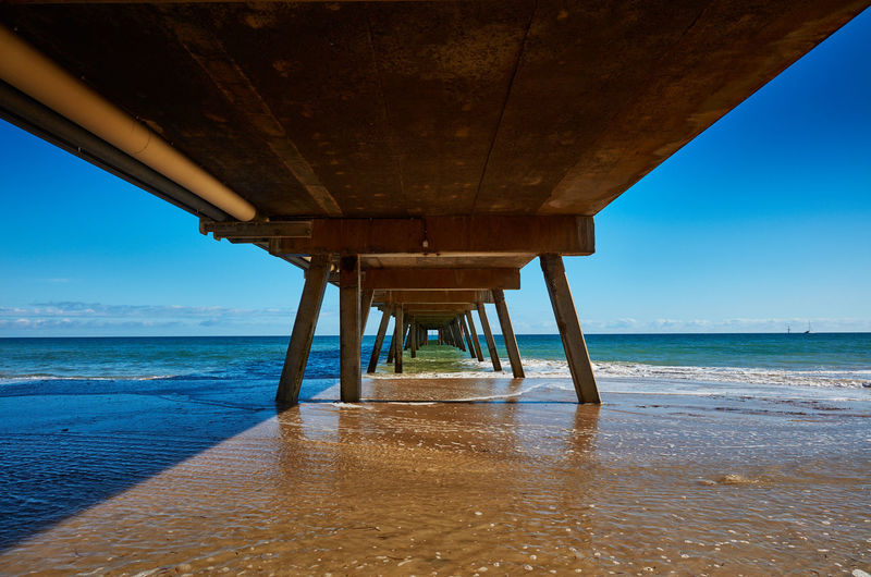 Adelaide, South Australia Water Sea Beach Sky Land Horizon Over Water Pier Scenics - Nature Horizon No People Nature Beauty In Nature Built Structure Architecture Underneath Blue Tranquil Scene Below Tranquility Outdoors Architectural Column Australia