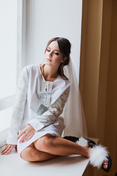 Editorial Fashion Fashion Stories Home Sitting Bride Editorial  Home Interior Sitting On Window White Window