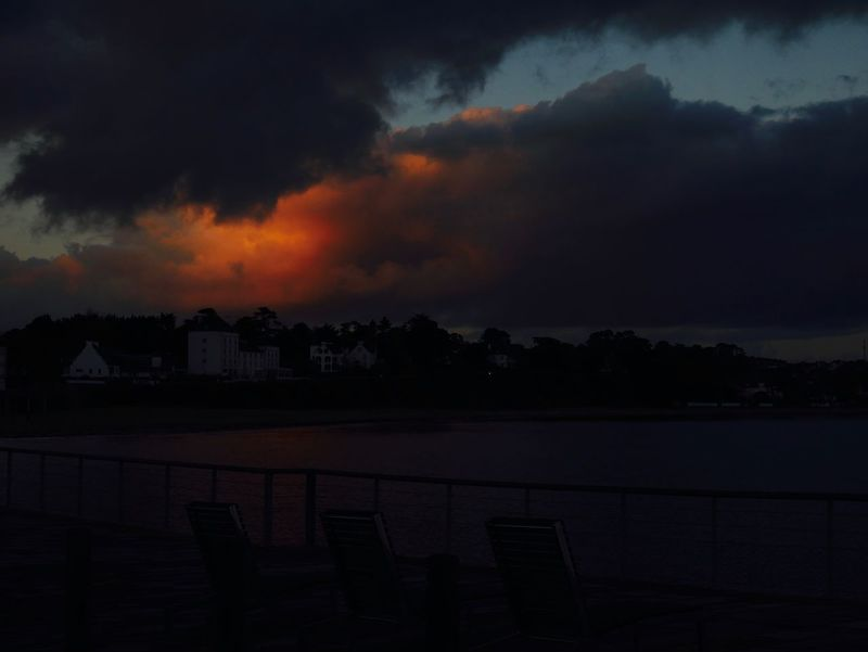 Fire In Sky Morgat Beach, Brittany Pres Il De Crozon Storm Architecture Beauty In Nature Building Exterior Built Structure Cloud - Sky High Tide Nature Night No People Outdoors Scenics Silhouette Sky Storm Clouds Sunset Tranquility Tree Water