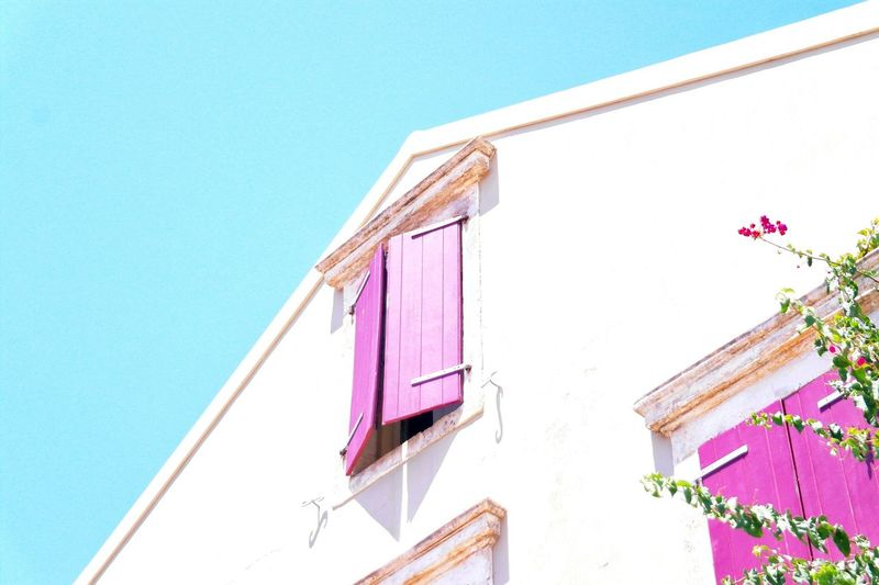 Pink Color Low Angle View Outdoors Architecture Building Exterior Sky Photooftheday Aesthetic Picoftheday Blue Photography Light Summer Walk Greece Freshness Architecture_collection Point Of View Lowangle Island Brightcolors Cyan Sky Magenda Minimalist Architecture