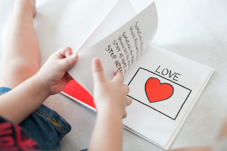 Love Book Toddler  Reading Human Hand Red Heart Shape Text Close-up Bookstore Knowledge Textbook Love Letter Library I Love You