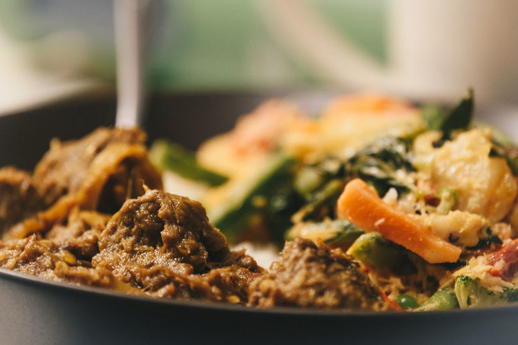 indonesian rendang with vegetables Close-up Curry Day Food Food And Drink Freshness Health Healthy Eating INDONESIA Indonesian Food Indoors  Lifestyles No People Ready-to-eat Rendang