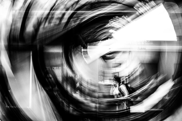 One Person People Black & White Blanco Y Negro Subterranean Architecture Circle Abstractphotography