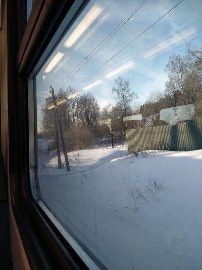 View of train window in winter