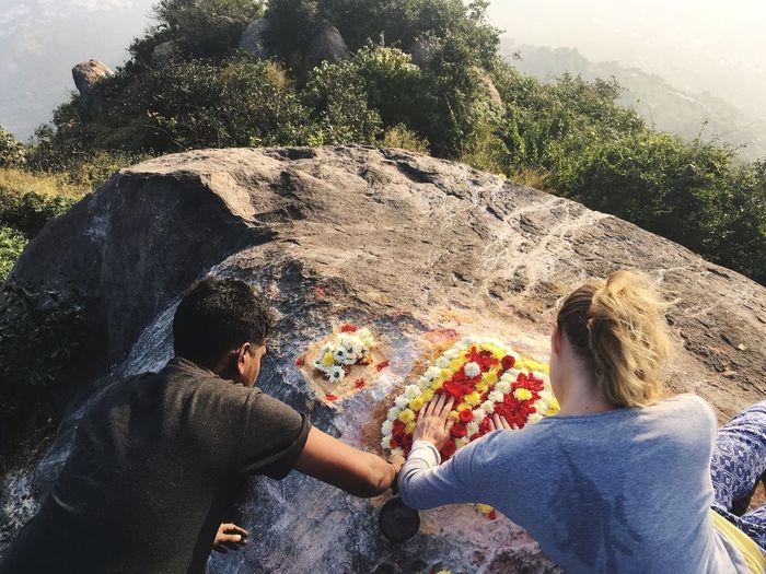 My Arunachala Hike Puja Ceremony Tiruvannamalai Arunachala Shiva India EyeEm Selects Real People Lifestyles Leisure Activity Nature Plant Sunlight