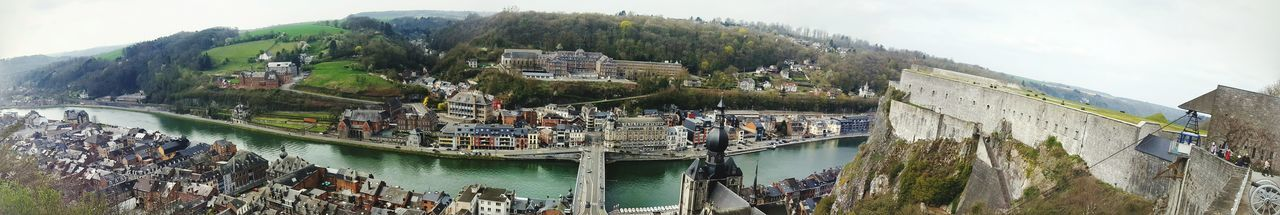 Dinant Panorama Panoramic Citadel Dinant Notre Dame Water Tree Mountain Sky Waterfront Canal Boat Calm