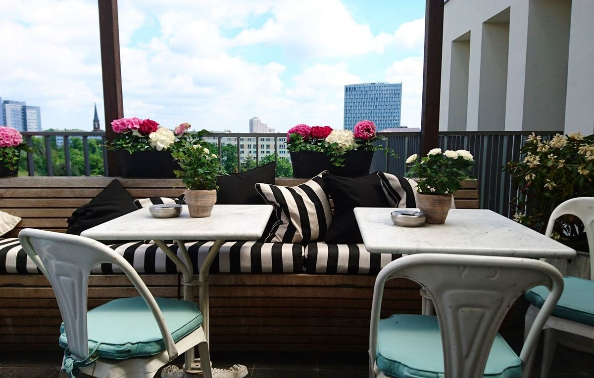 Chair Table Flower Outdoors Architecture Building Exterior City Rooftop Terrace Summer Time  Summer Time  City Summer Views