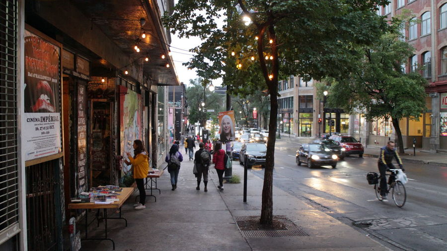 Group of people on city street