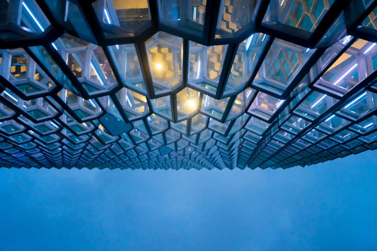 Iceland Islanda Iceland Memories Iceland_collection Icelandic Harpa Reykjavik Harpa Reykjavik Architecture Glass Façade Glass - Material Architecture Ceiling Abstract Lens Flare Shape Low Angle View Creativity Grid Built Structure Pattern
