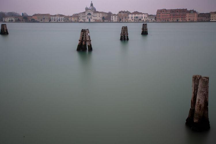 Wooden posts in water