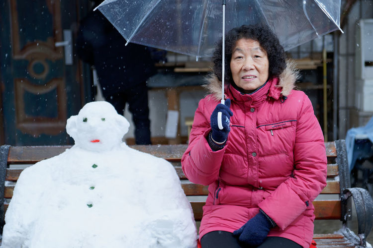 Woman Warm Clothing Snow Smiling Portrait Cold Temperature Friendship Winter Happiness Cheerful Snowman