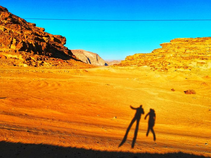 Shadow of people on land against clear blue sky