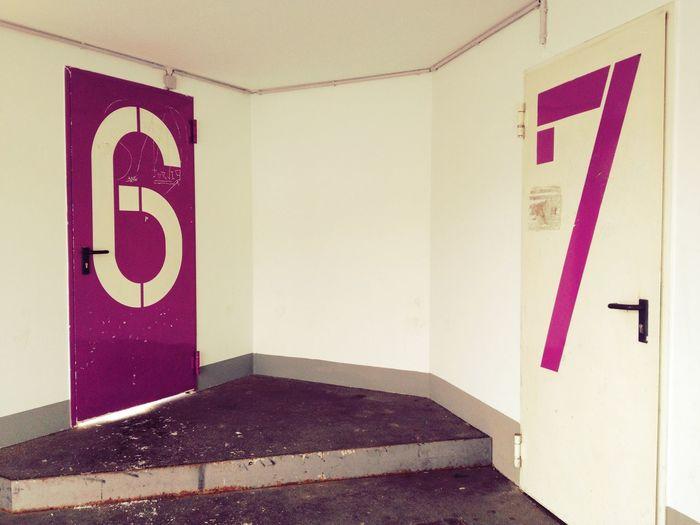 Numbers On Door Of Parking Lot