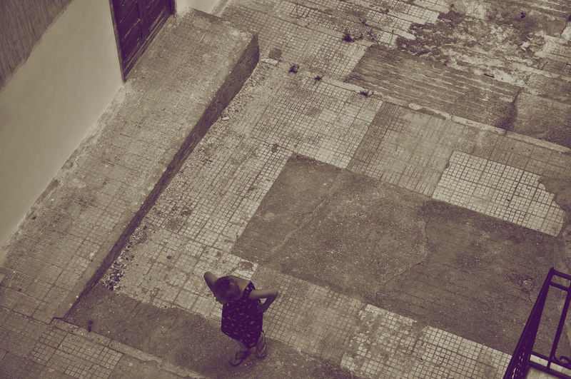High angle view of person on street