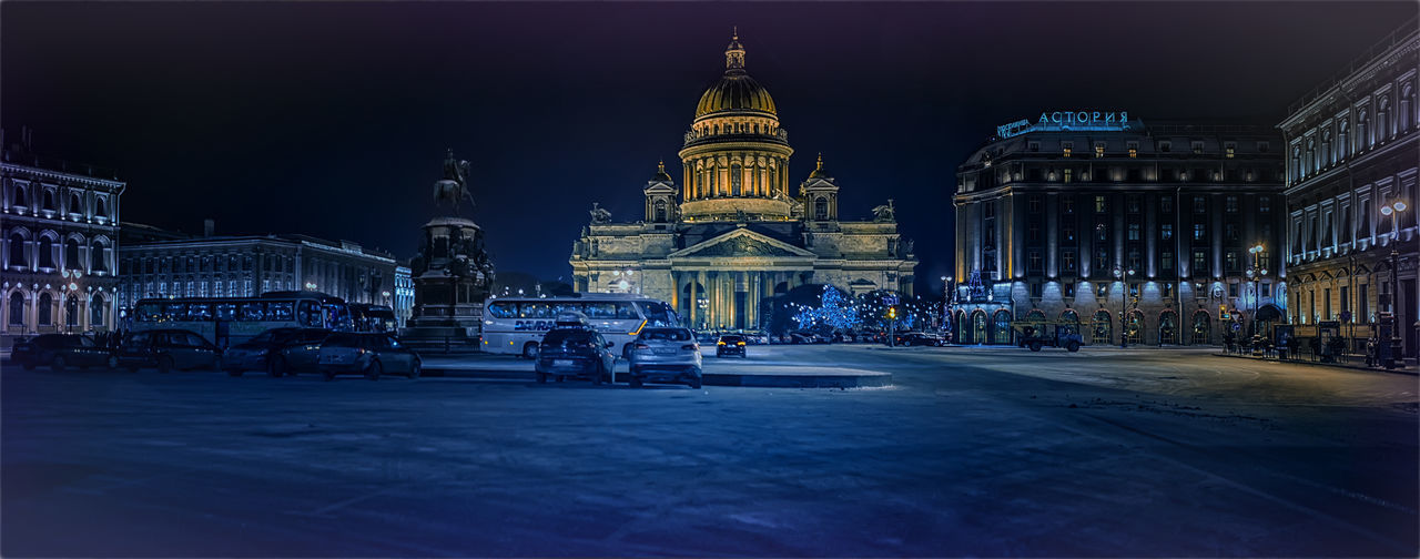 Architecture Built Structure City Cultures Illuminated Isaac's Cathedral Night No People Outdoors Saint Petersburg Sky Snow Travel Travel Destinations Winter