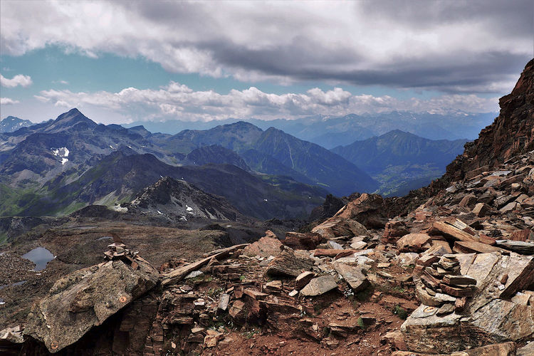 Scenic view of mountains against sky, monte rosa group, aosta valley.
