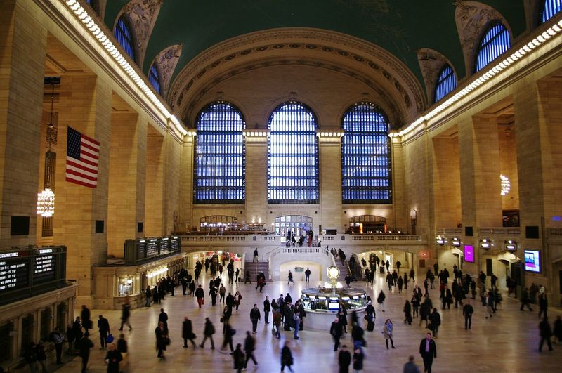 High Angle View Of Crowd At Grand Central Station