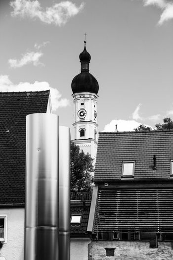Old and new combined in my wonderful hometown Germany Bavaria No People Building Exterior Building Landsberg Am Lech  Church Bulbous Spire Bulbous Dome Stainless Steel  Roof Old Buildings Downtown Black And White Black & White Black And White Photography BW Collection Bw Photography Showcase June