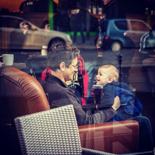 Germany Berlin Mitte Starbucks Kid Father Fun Cute PricelessMoment Priceless Moment IPhone Photography Stadtmitte