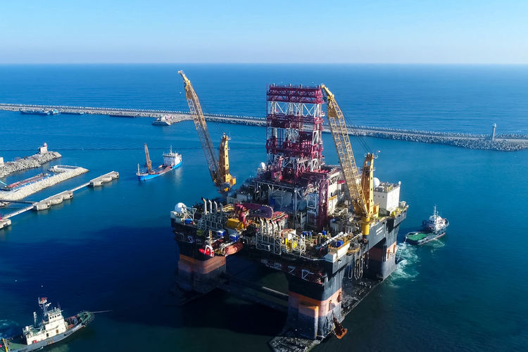 Sea Water Transportation Nautical Vessel Business Industry Freight Transportation Nature Ship High Angle View Shipping  Mode Of Transportation Oil Industry Fuel And Power Generation Machinery No People Aerial View Offshore Platform Cargo Container Outdoors